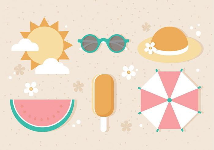 Free Flat Vector Sommer-Elemente