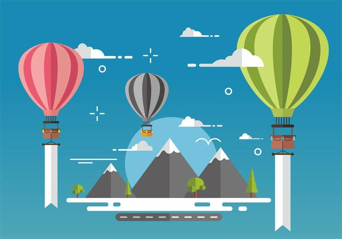 Hot Air Balloon Vector Design Background