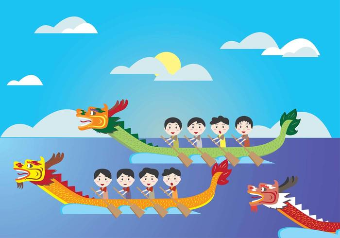 Dragon Boat Festival Kids Vector