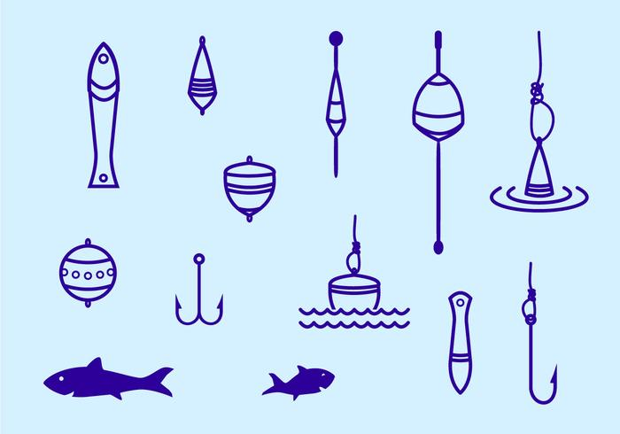 Fishing Tackle Stroke Icon vector