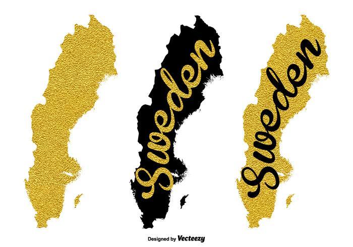 Guld Sverige Karta Vektor