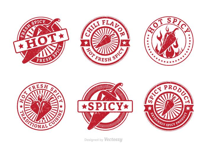 Fresh Spicy Hot Pepper Grunge Vector Stamps