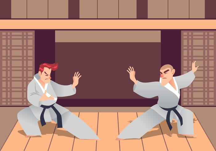 Two Man Practicing Martial Arts In The Dojo