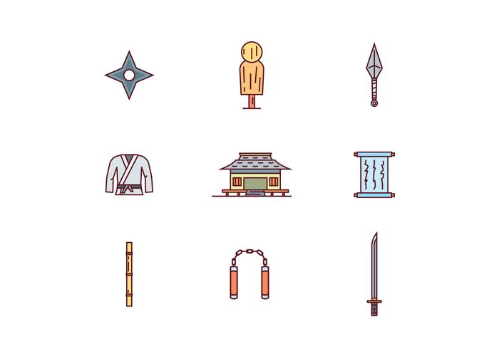 Martial Arts Filled Outline Icons