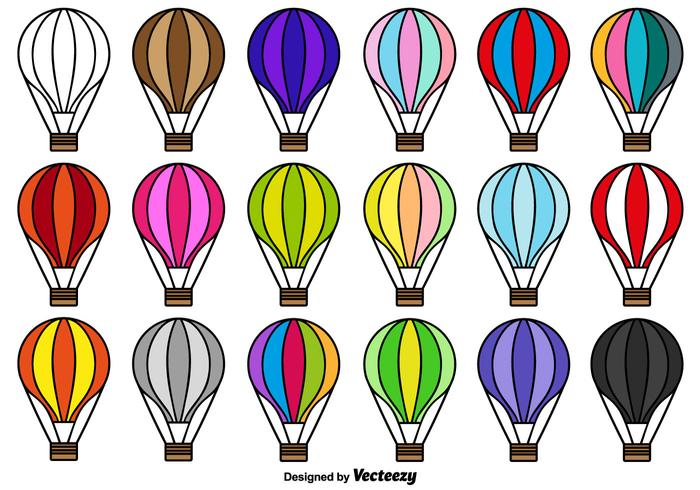 Hot Air Balloon Icon Vector Collection