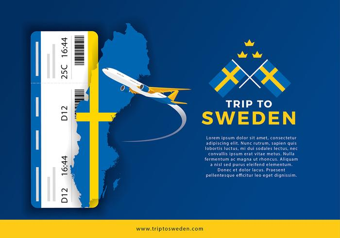 Sweden Map and Trip For Ticket Vector