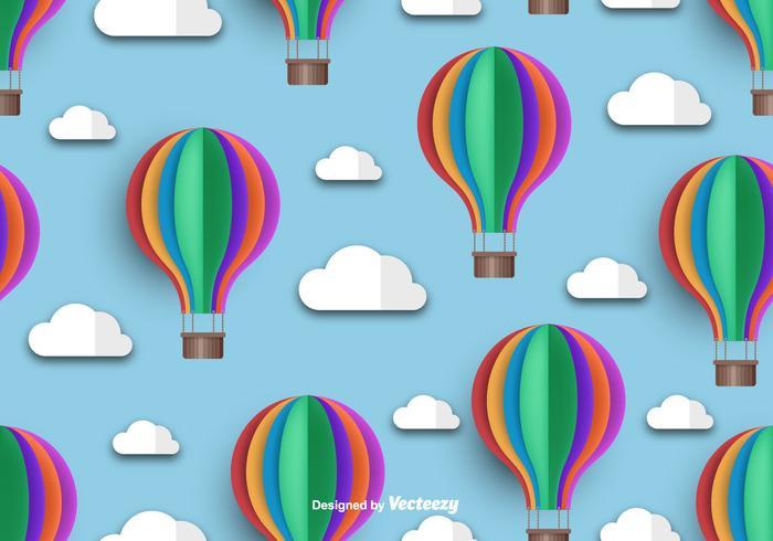 Heißluft-Ballon-Ikone Schönes nahtloses Muster
