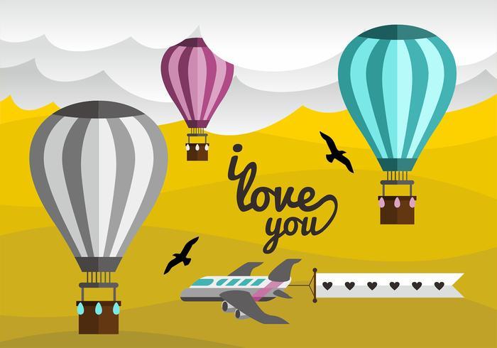 Hot Air Balloon Love Note Vector Design