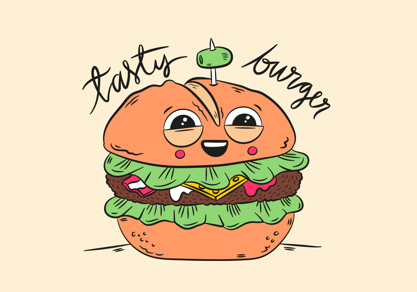 Cute Character Burger Smiling With Quote - Download Free ...