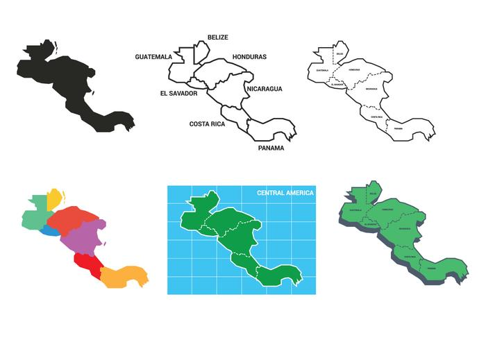 Central america map vector set