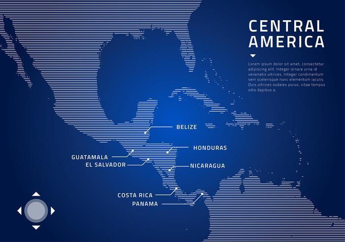 Centralamerika Karta Teknologi Gratis Vector
