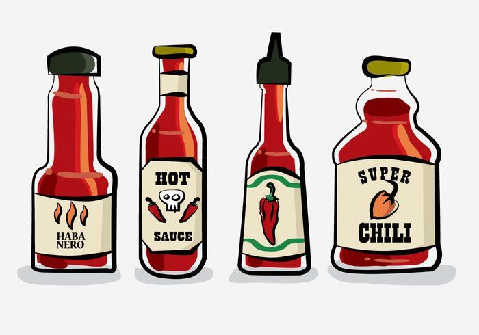 Hot Chili Sauce Bottle Habanero Vector Illustration