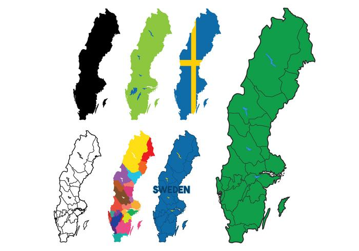 Sweden Map Vector Set