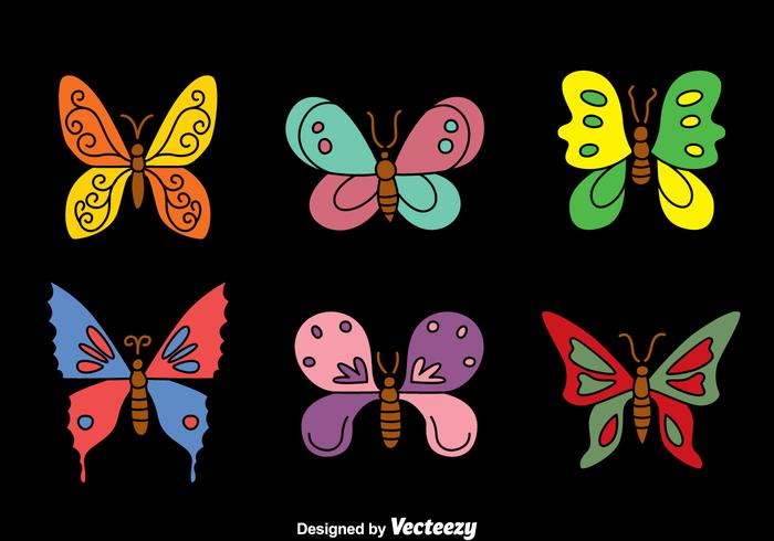 Butterfly Collection on Black Vectors