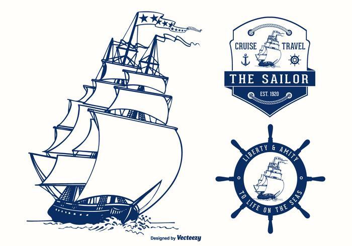 Colonial Vessel Badges Vector Design