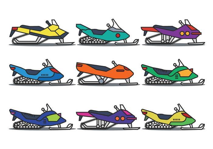 Snowmobile illustration vector set
