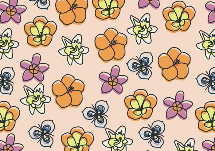 Hand Drawn Floral Pattern With Some Flowers