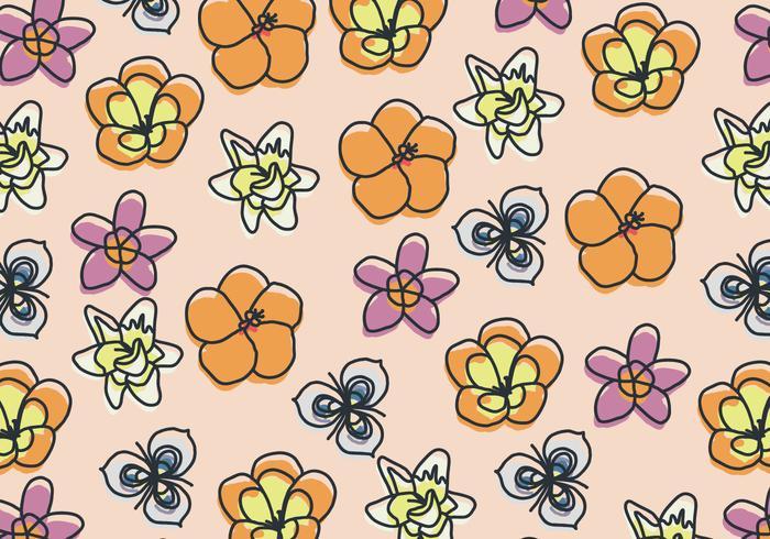 Motif floral dessiné à la main avec des fleurs