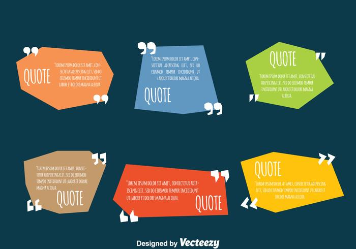 Colored Testimonial Quote Design Template Vectors