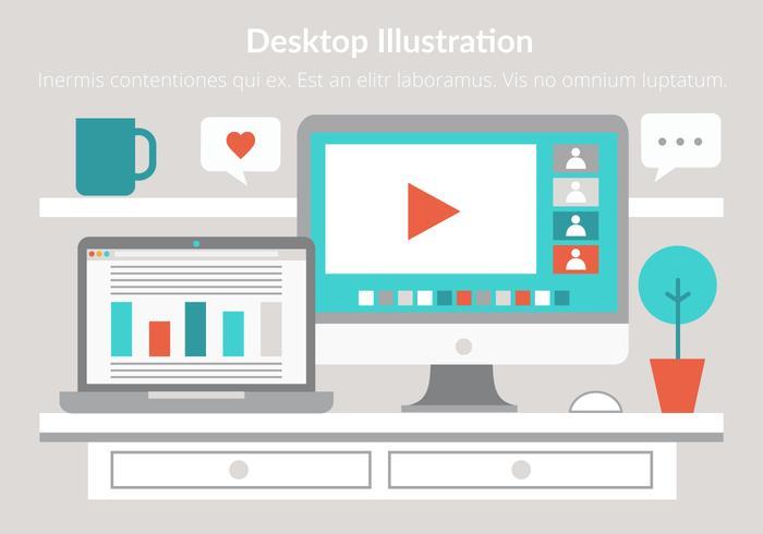 Free Flat Design Vector Workspace