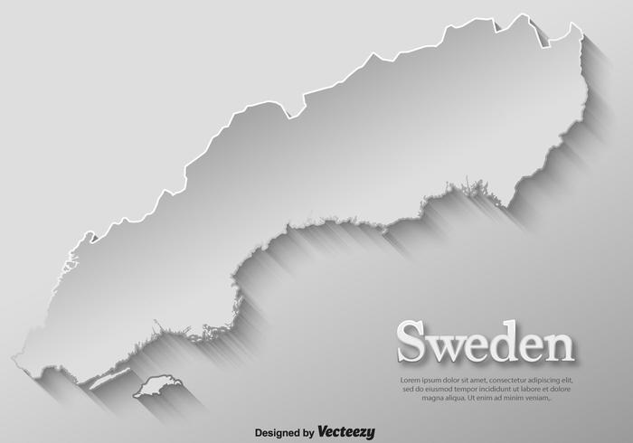 Plantilla del mapa de Suecia del papel de tarjeta del vector