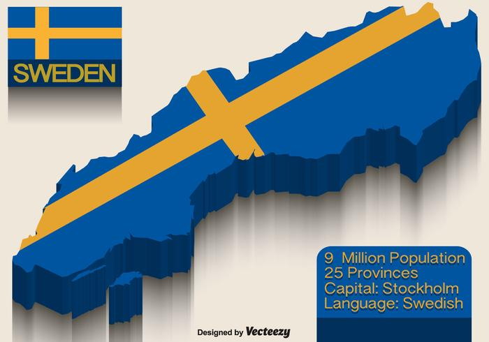 Vector Sweden Flag On 3d Map