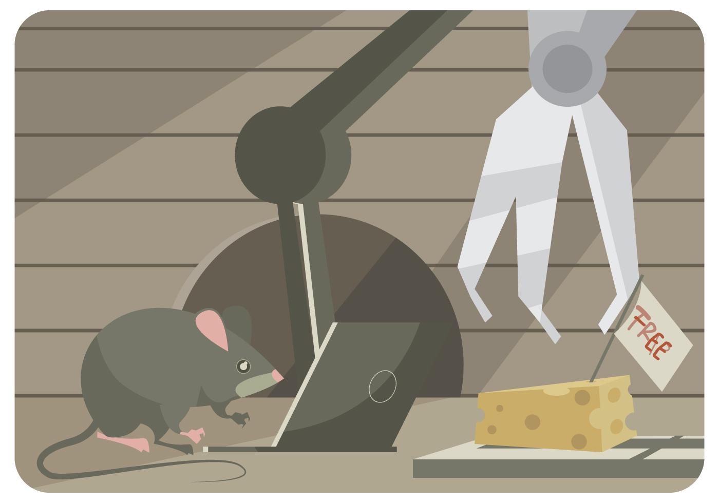 Un mouse tenta di hackerare una trappola per topi con il portatile