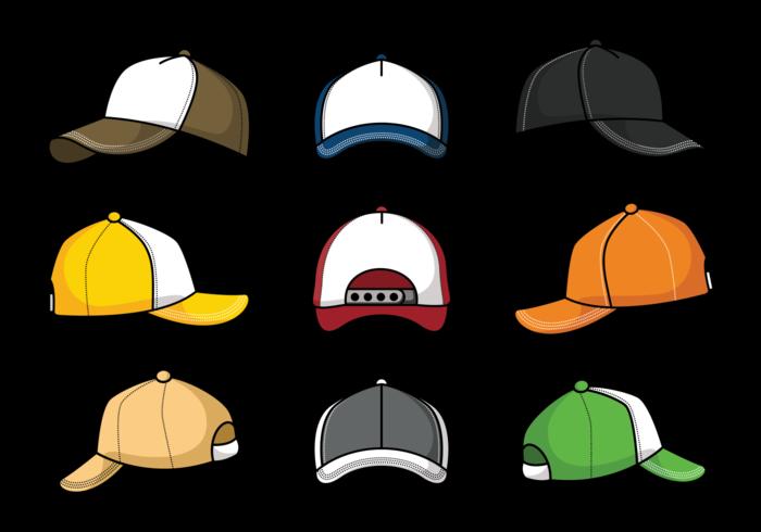 Trucker Hat Icons Vector