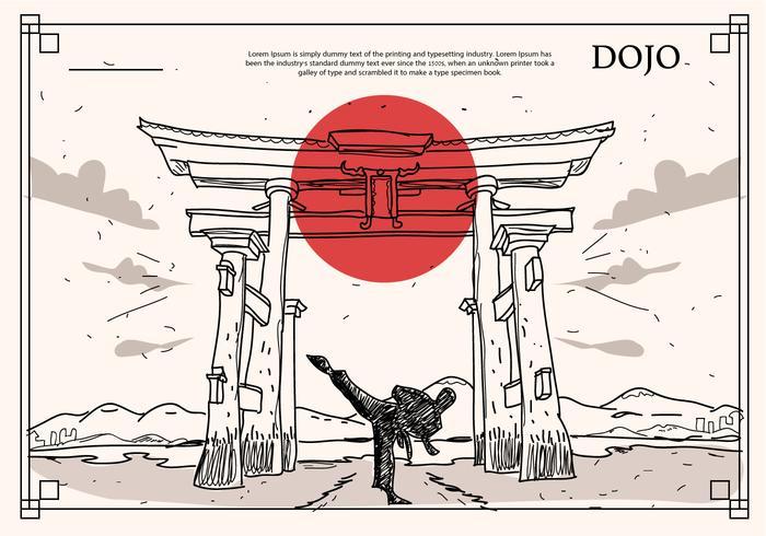 Japanese Historical Building Dojo Hand Drawn Vector Illustration