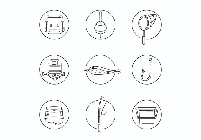 Thin Line Fishing Equipment Icons