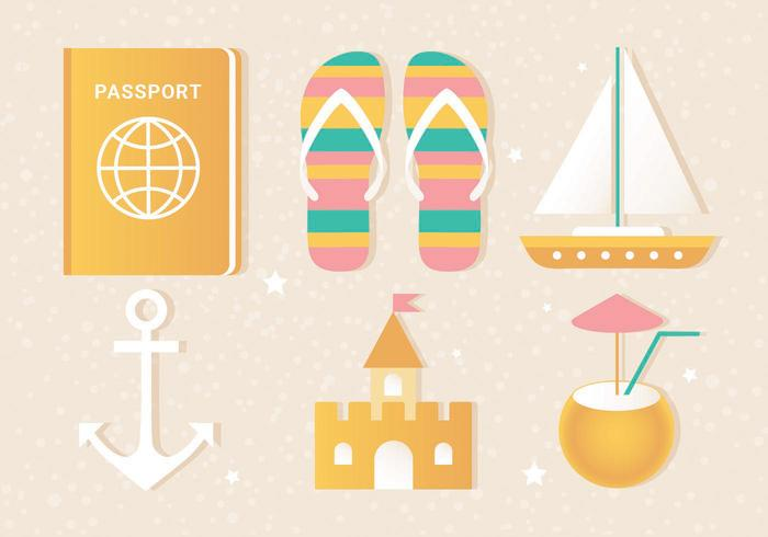 Free Flat Vector Summer Travel Elements