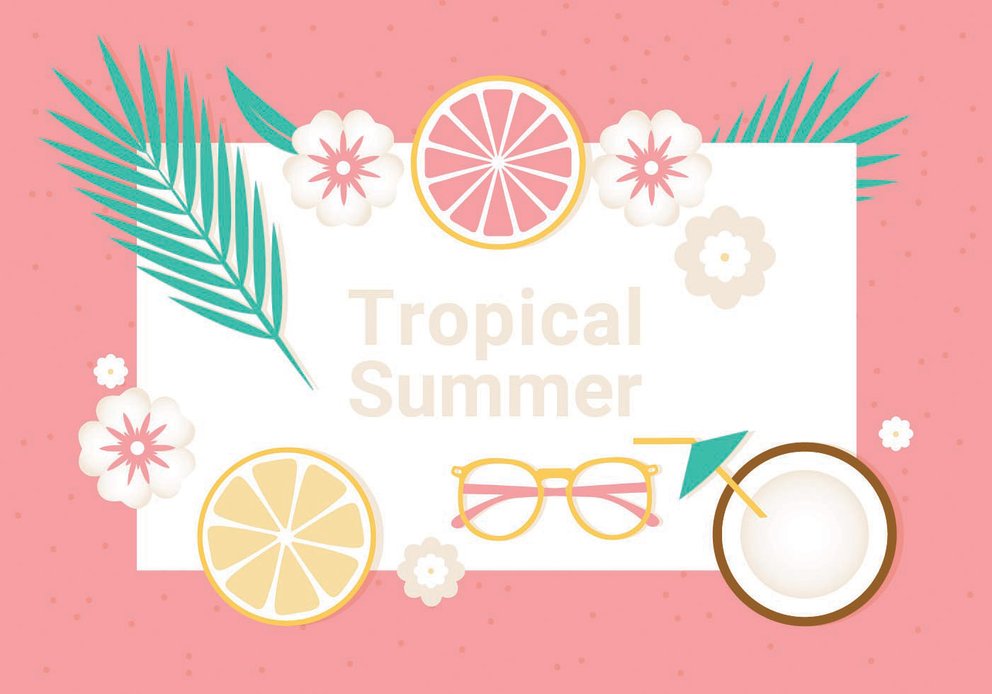 Free Tropical Summer Vector Illustration Download Free Vector Art Stock Graphics Amp Images