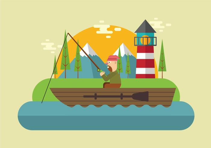 Fishing On The Lake Vector