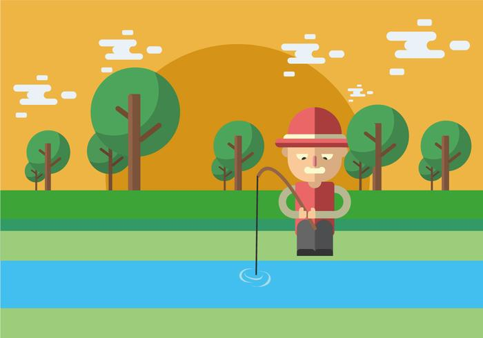 Fishing On The River Banks Vector