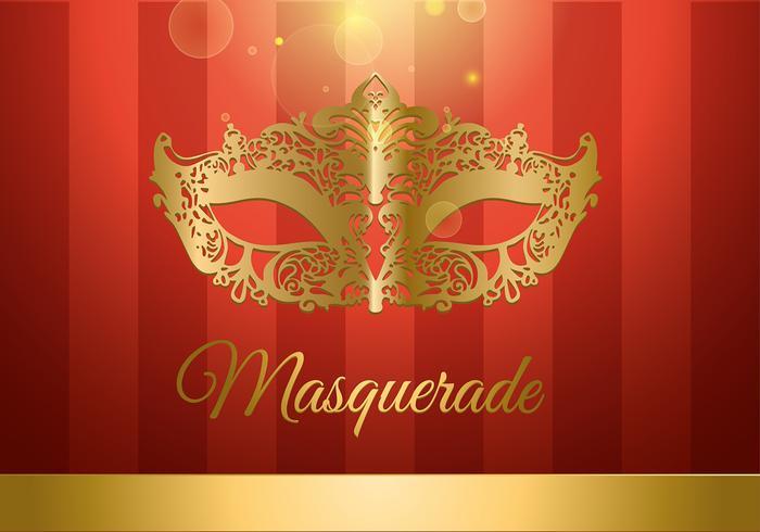 Masquerade, bola, Ouro, vermelho, livre, vetorial