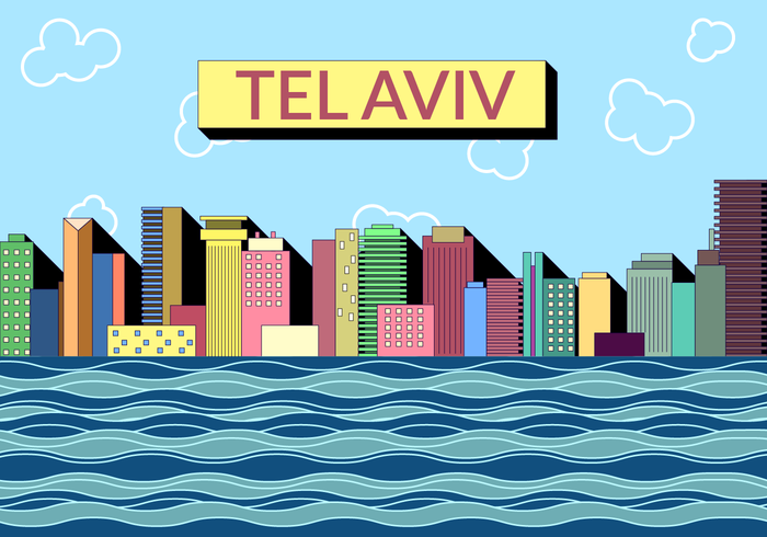 Vintage Tel Aviv Skyline Vector