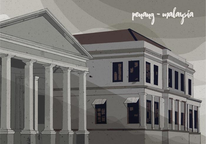 Colonial Vintage Vector Illustration of Penang