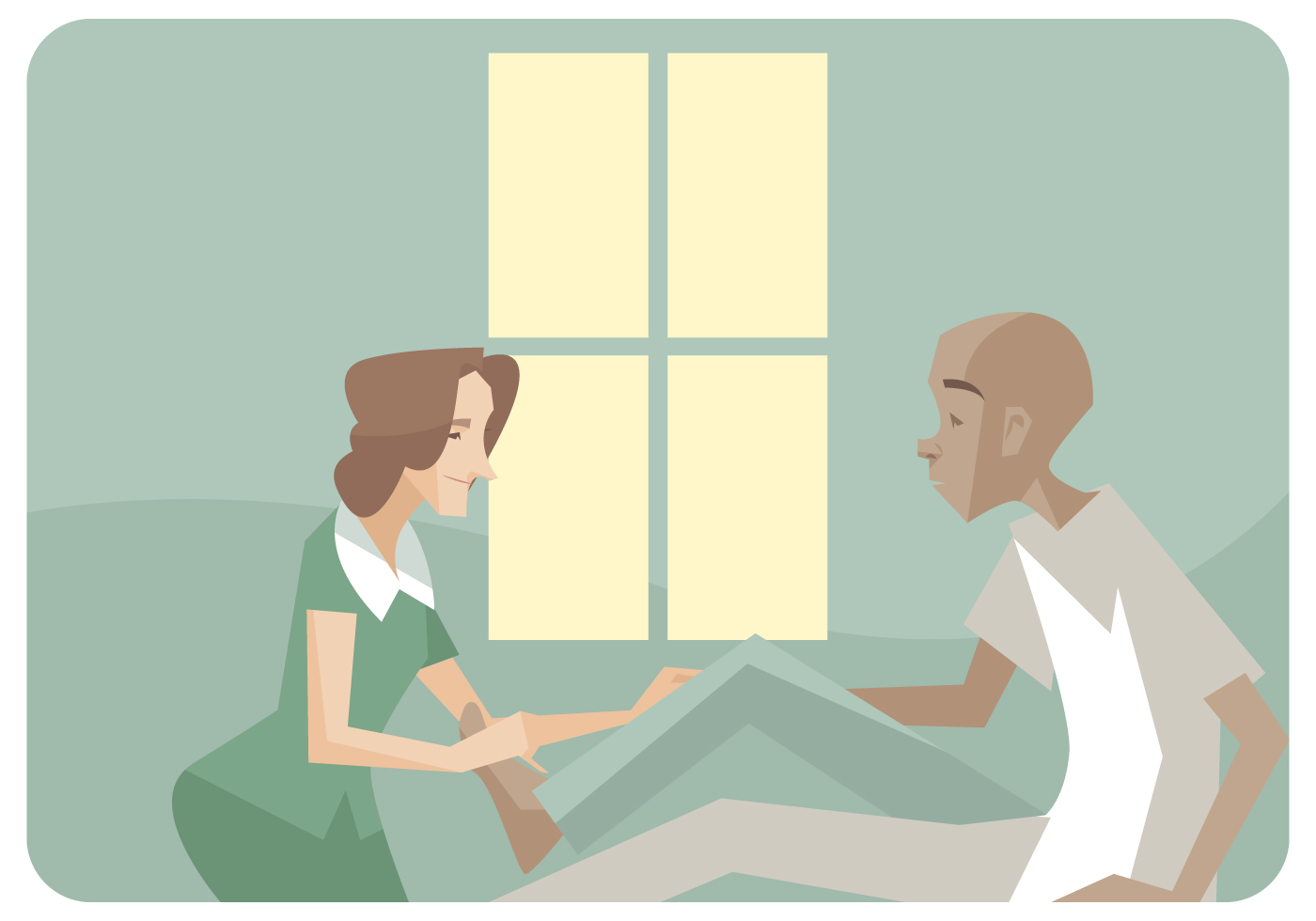 physiotherapist giving a leg massages vector