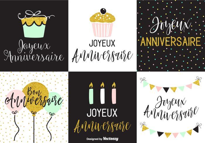 Joyeux Anniversaire Greeting Card Templates