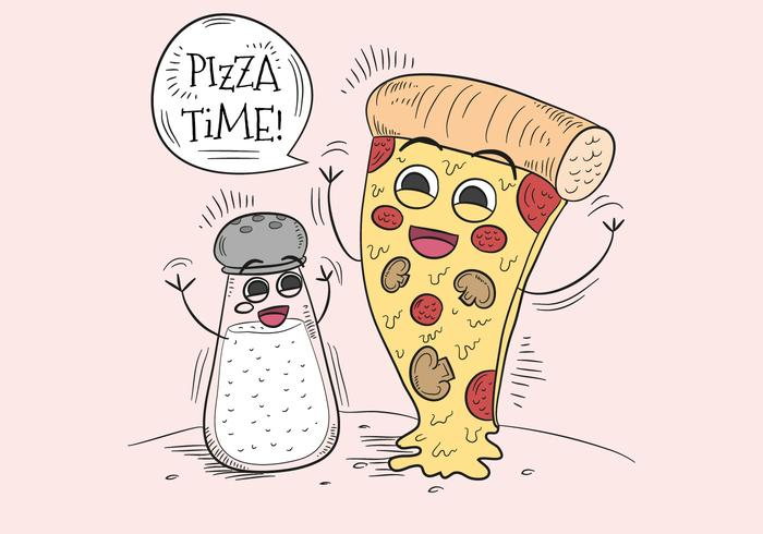 Funny Pizza And Salt Character for Pizza Time