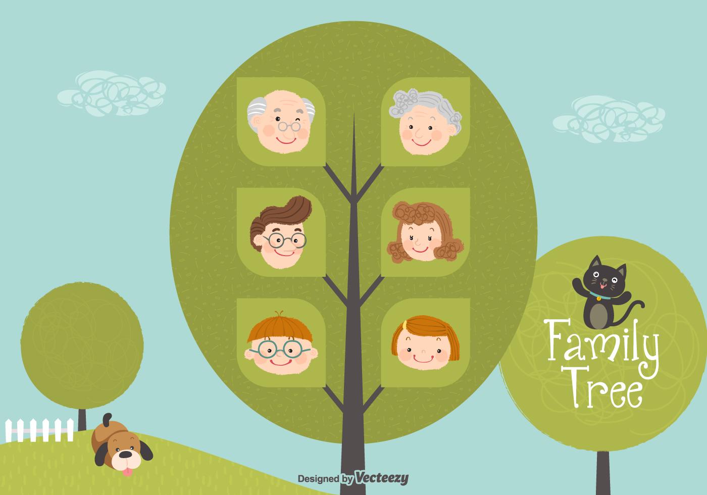 Cute Cartoon Family Tree Vector - Download Free Vectors, Clipart Graphics &  Vector Art