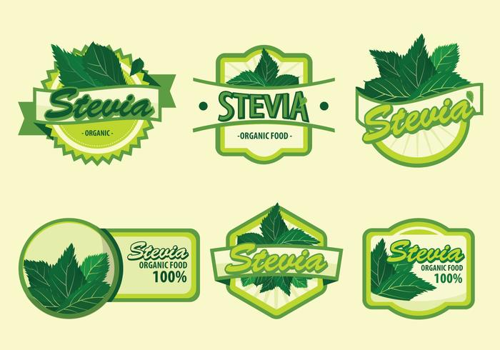 Fresh Green Stevia Label Vector Illustration