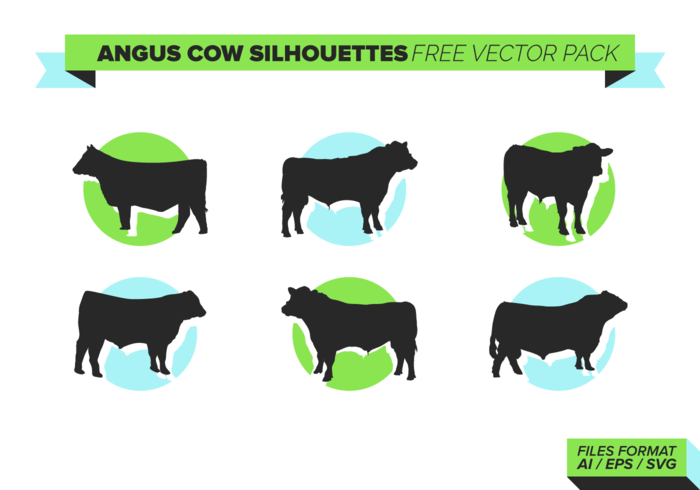 Angus Cow Silhouettes Gratis Vector Pack