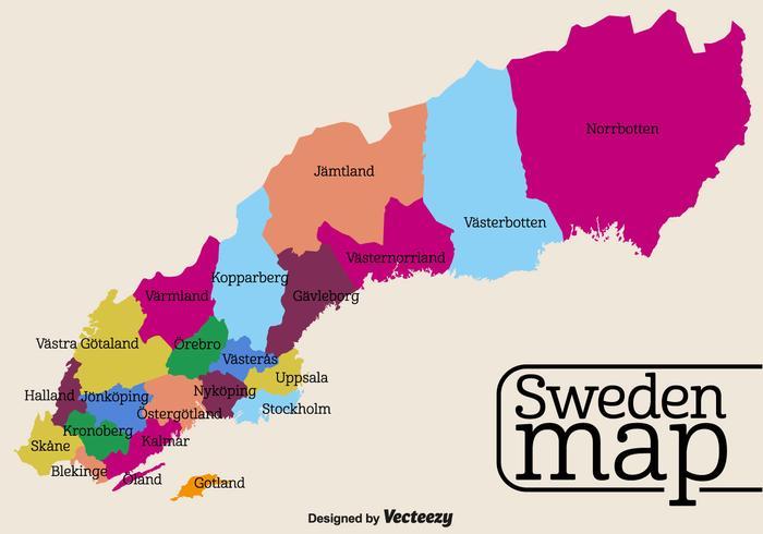 Mapa detalhado cheio de vetores da Suécia