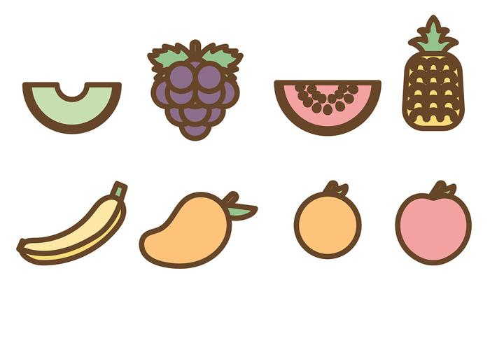 Flat Fruit Icons Vector