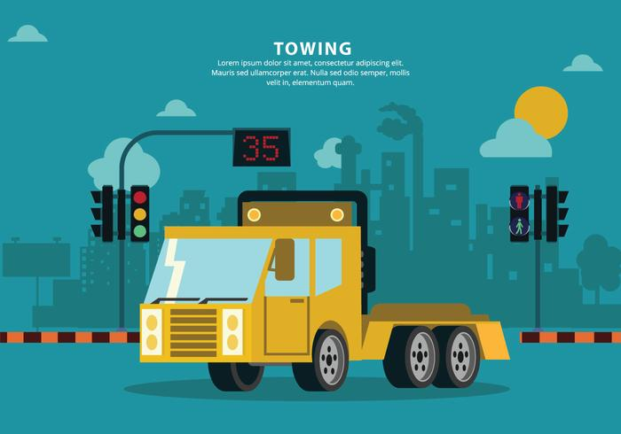 Towing City Mechanic Service Vector Background Illustration