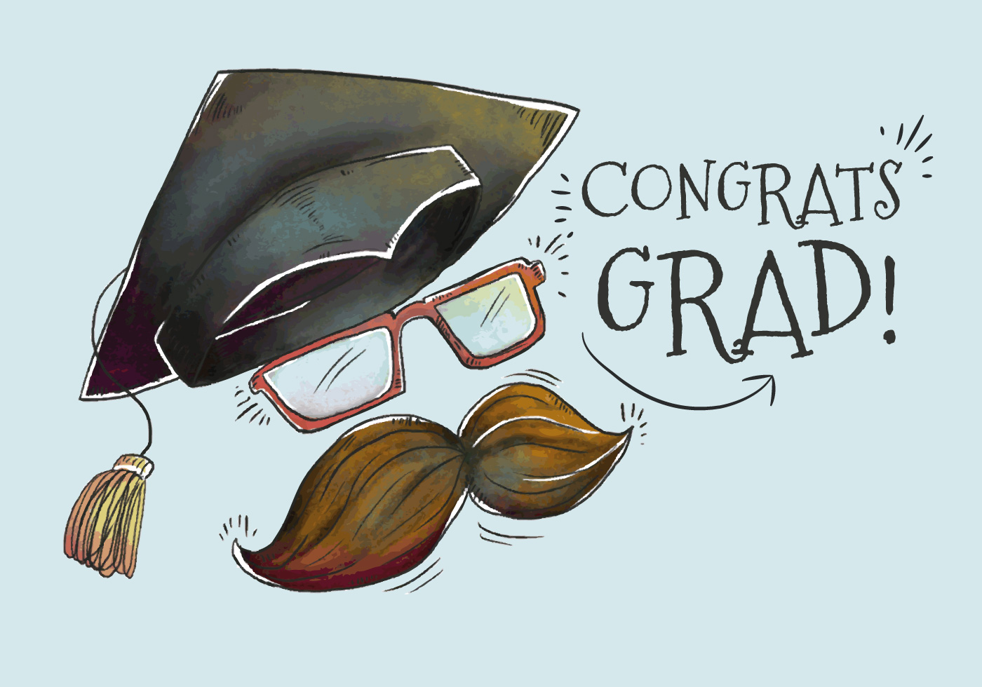 Cute Grad Hat With Mustache for Graduation Season Vector ...