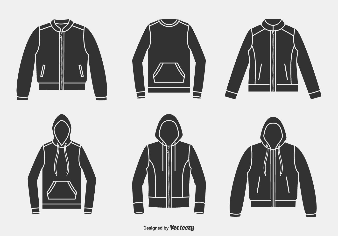 Silhouette Jacken, Kapuzenpullover und Strickjacken Vector Icons ...