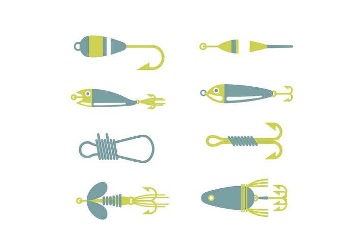Fishing equipment vector icons