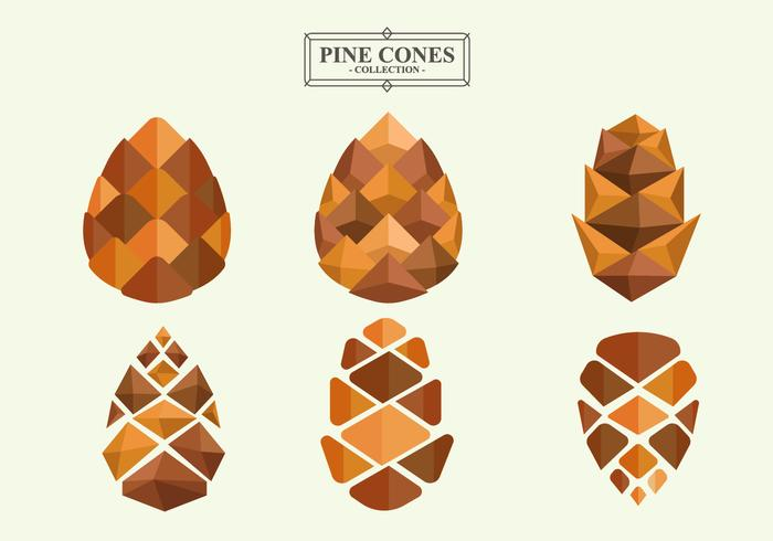 Pine Cones Flat Vector Collection